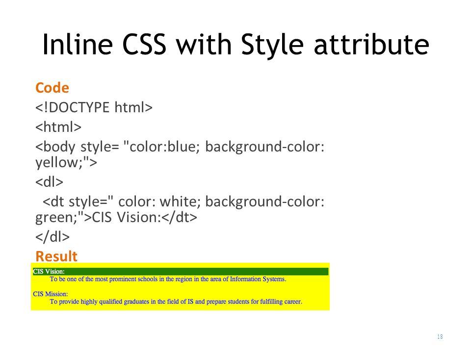 Inline Elements Exle