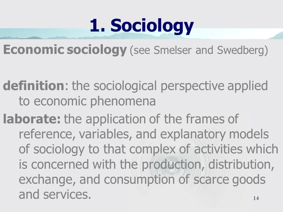 1. Sociology Economic sociology (see Smelser and Swedberg)