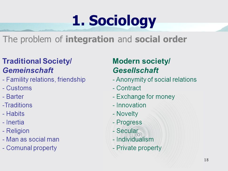 1. Sociology The problem of integration and social order
