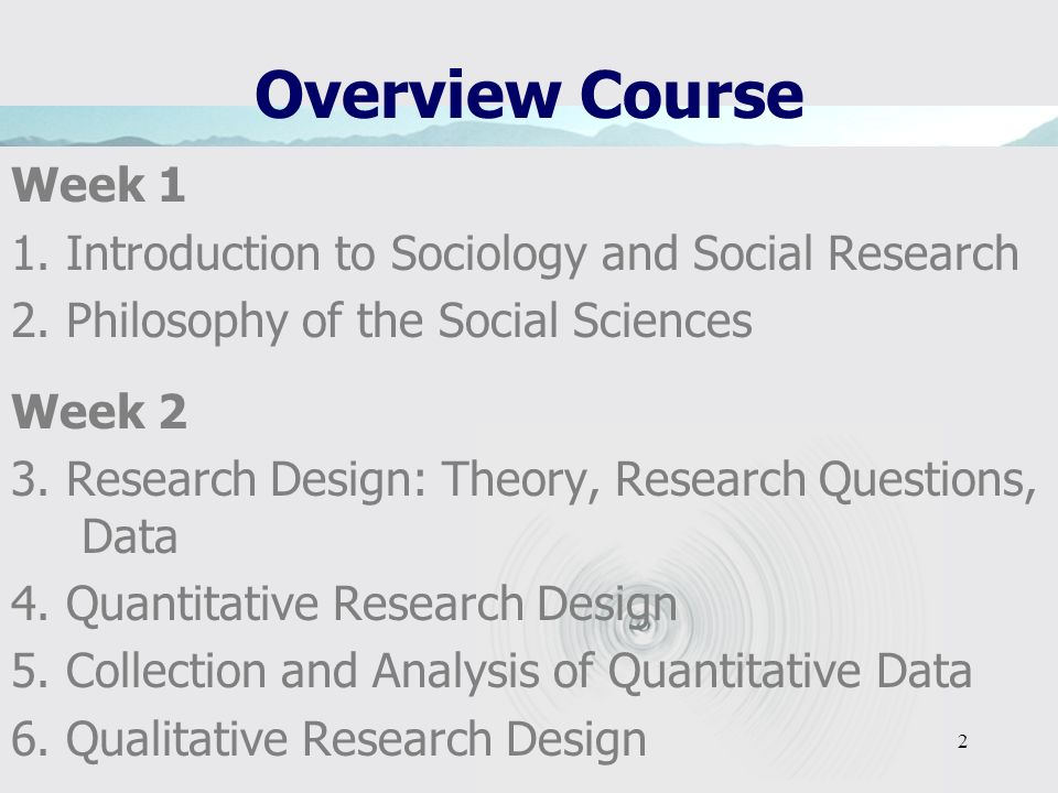 Overview Course Week 1. 1. Introduction to Sociology and Social Research. 2. Philosophy of the Social Sciences.
