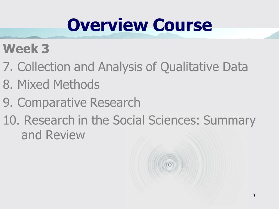 Overview Course Week 3 7. Collection and Analysis of Qualitative Data