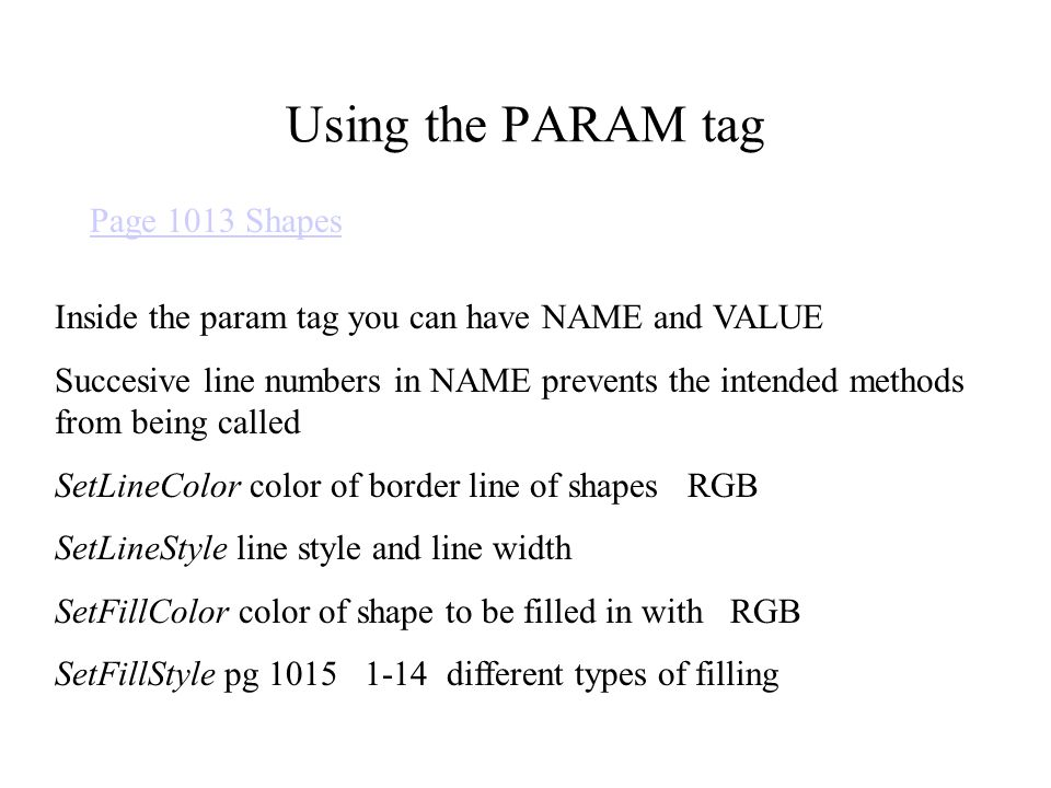 Using the PARAM tag Page 1013 Shapes