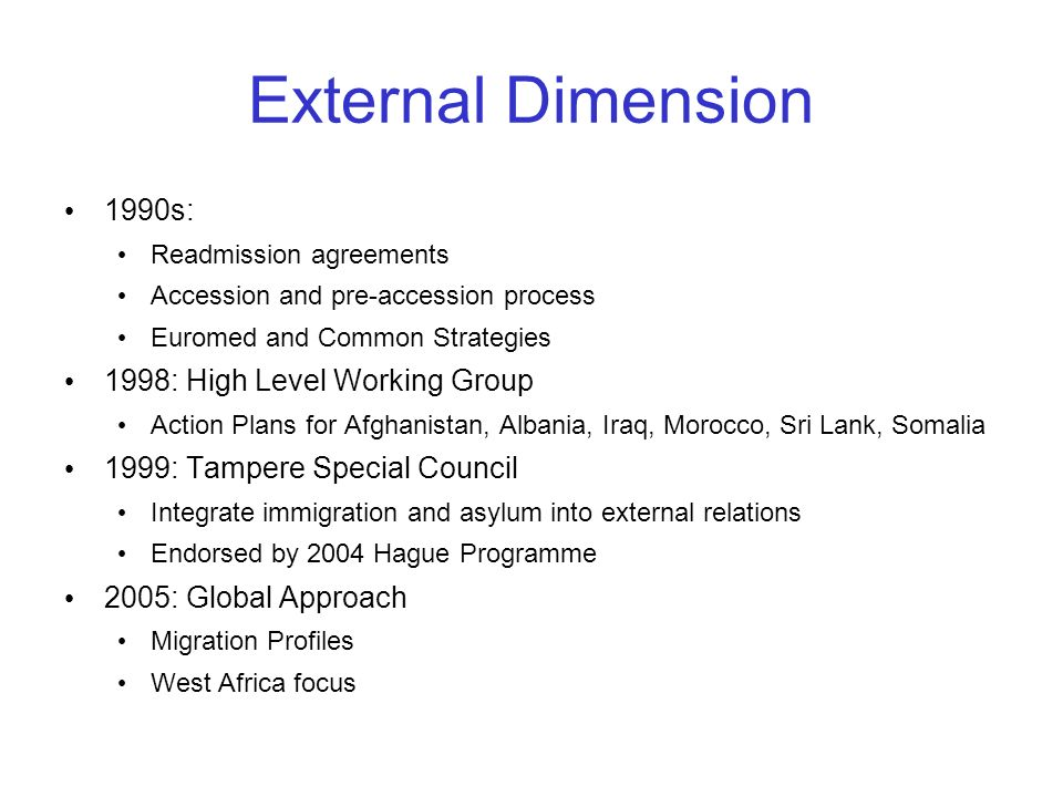 External Dimension 1990s: 1998: High Level Working Group