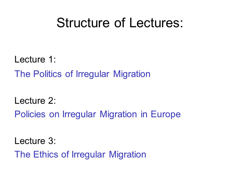 Structure of Lectures: