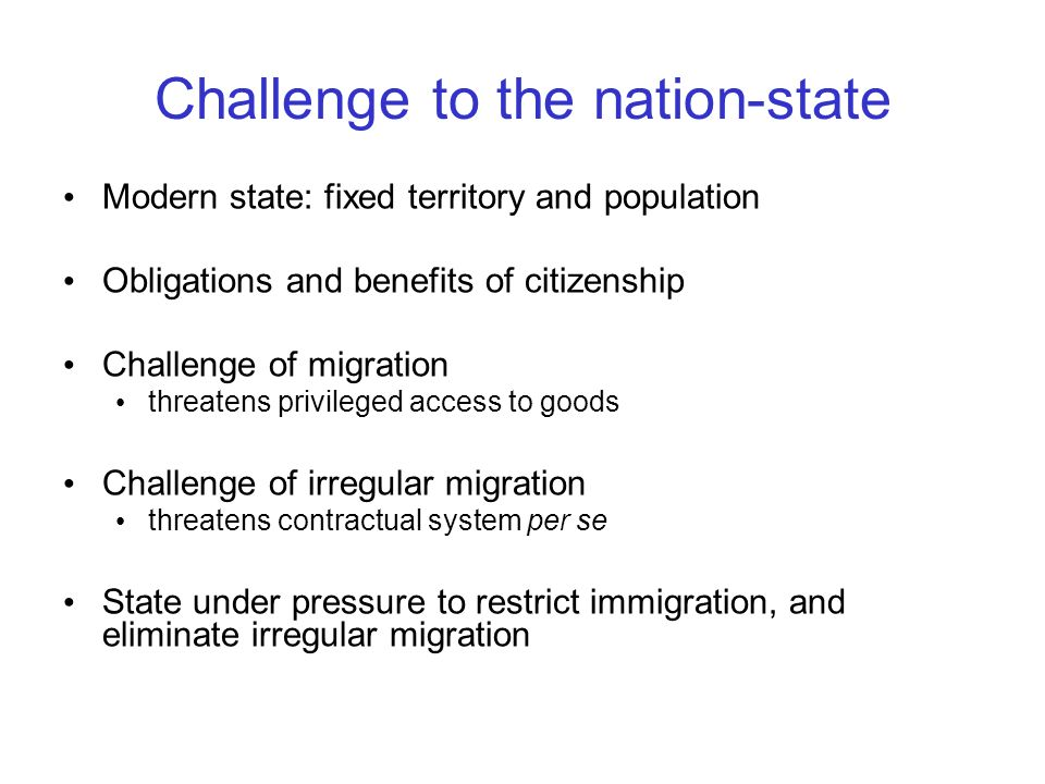 Challenge to the nation-state
