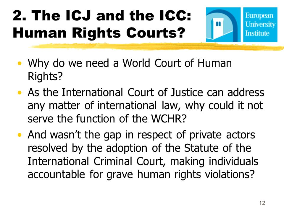 2. The ICJ and the ICC: Human Rights Courts