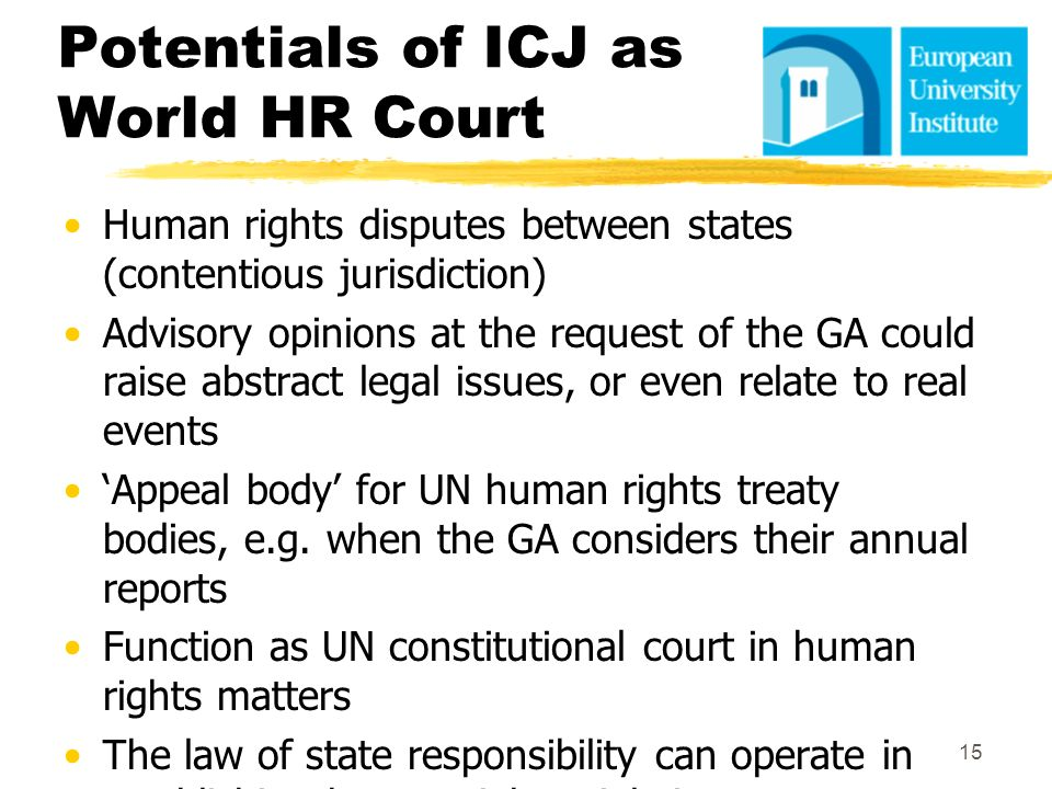 Potentials of ICJ as World HR Court
