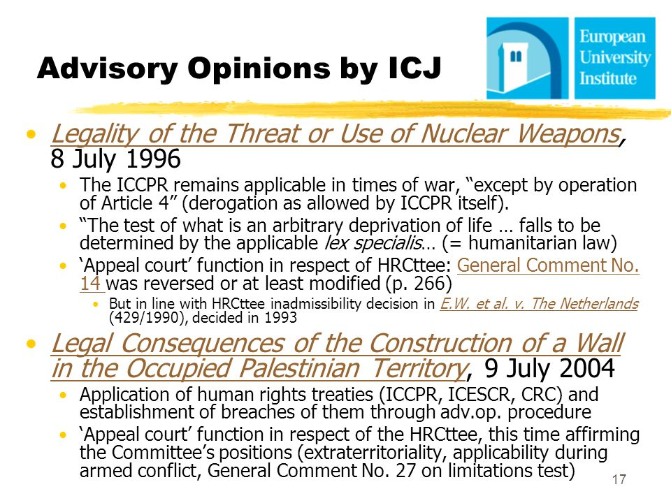 Advisory Opinions by ICJ
