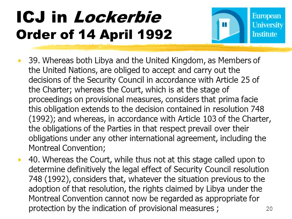 ICJ in Lockerbie Order of 14 April 1992