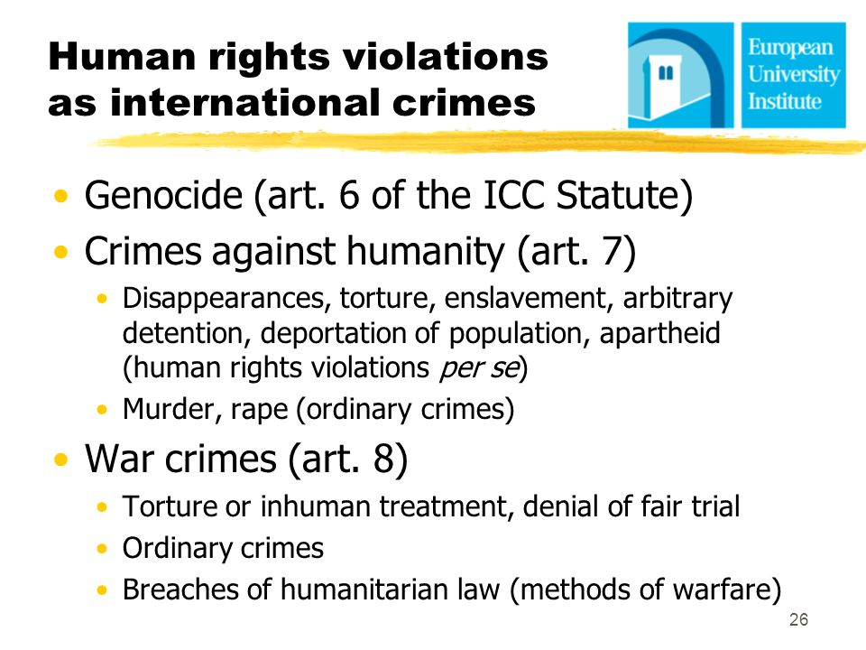 Human rights violations as international crimes