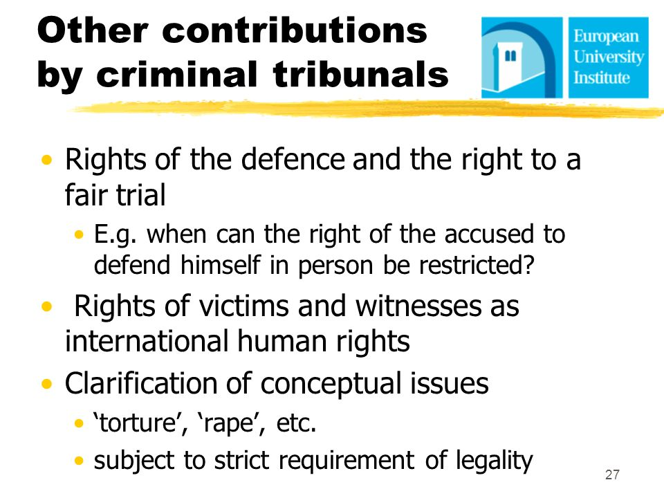 Other contributions by criminal tribunals