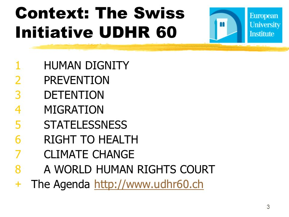 Context: The Swiss Initiative UDHR 60