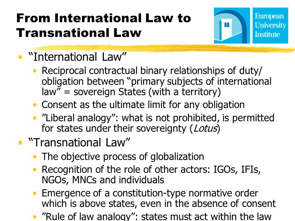 From International Law to Transnational Law