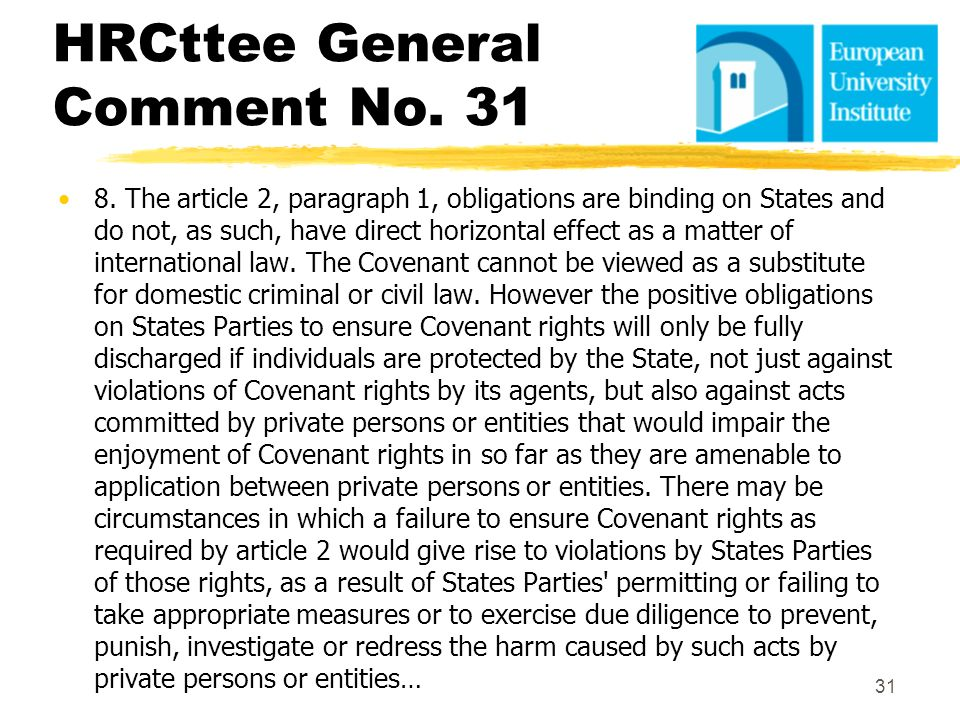 HRCttee General Comment No. 31