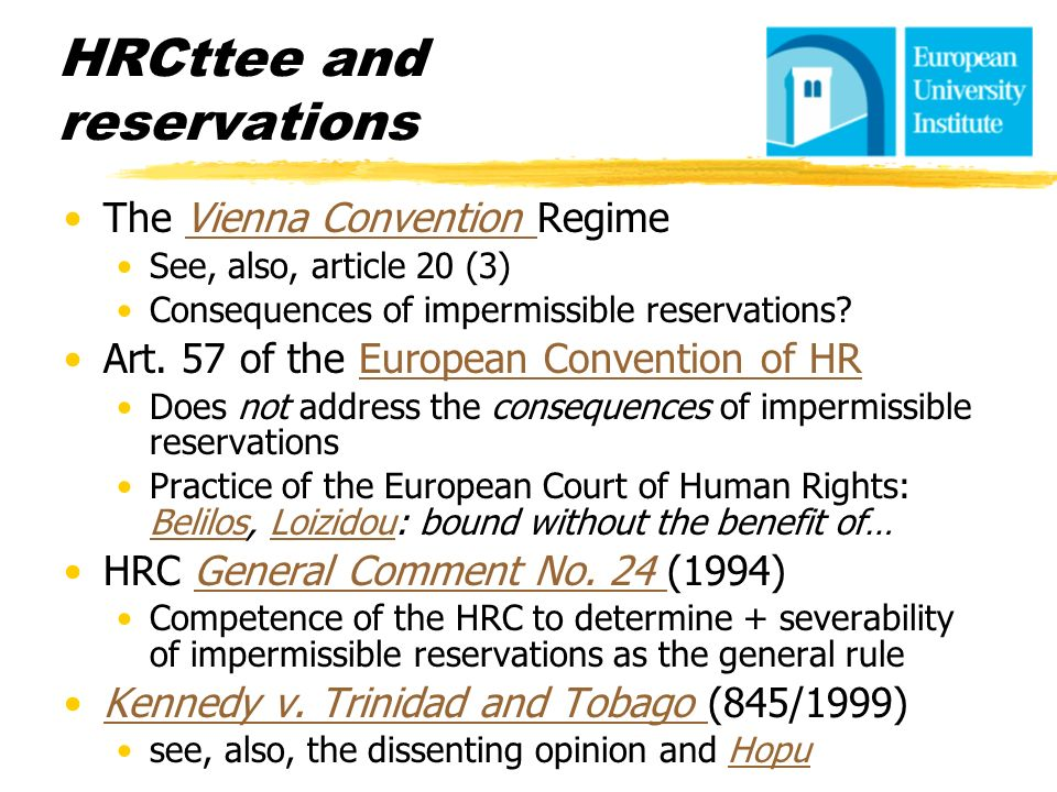 HRCttee and reservations