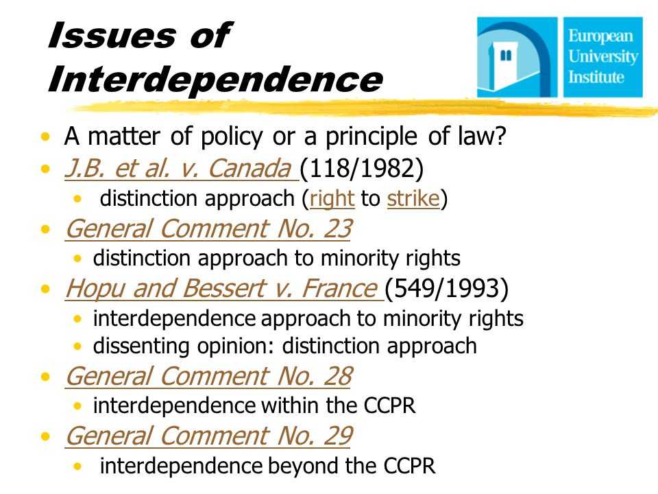 Issues of Interdependence