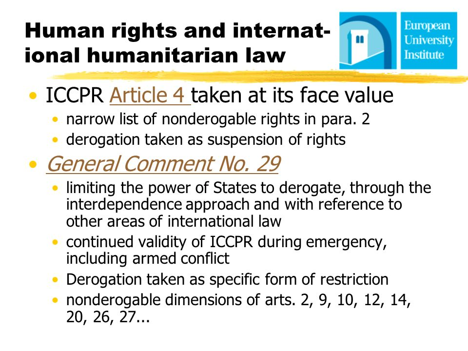 Human rights and internat-ional humanitarian law