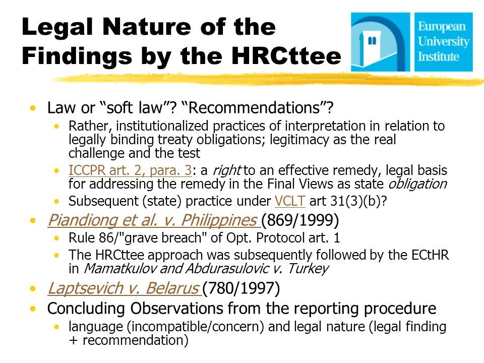 Legal Nature of the Findings by the HRCttee