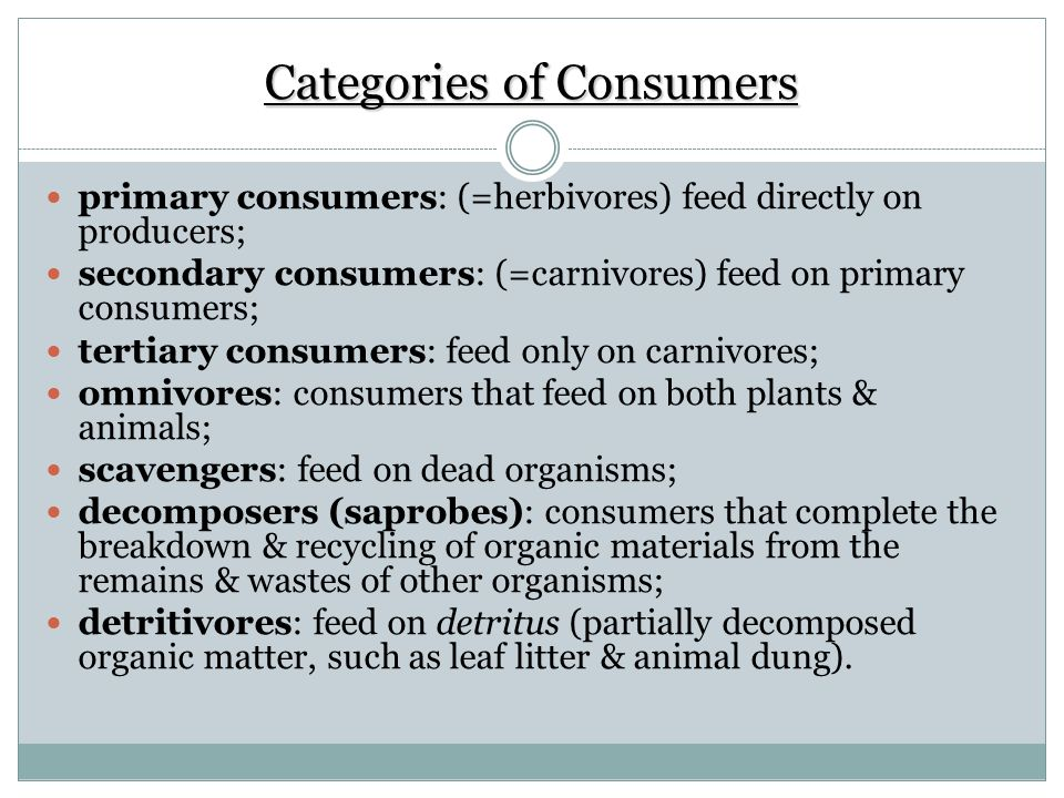 Categories of Consumers