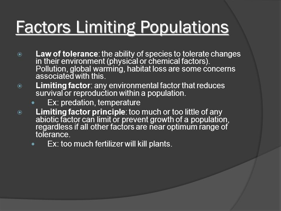 Factors Limiting Populations