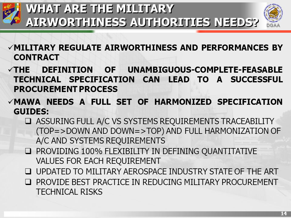 WHAT ARE THE MILITARY AIRWORTHINESS AUTHORITIES NEEDS