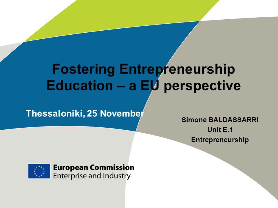 Fostering Entrepreneurship Education – a EU perspective
