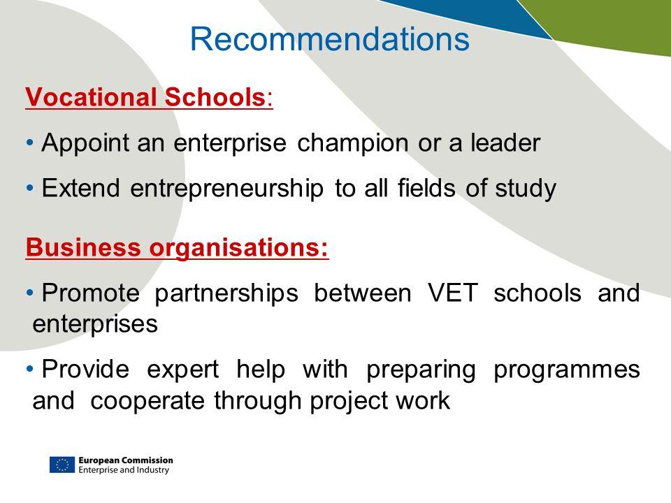 Recommendations Vocational Schools: