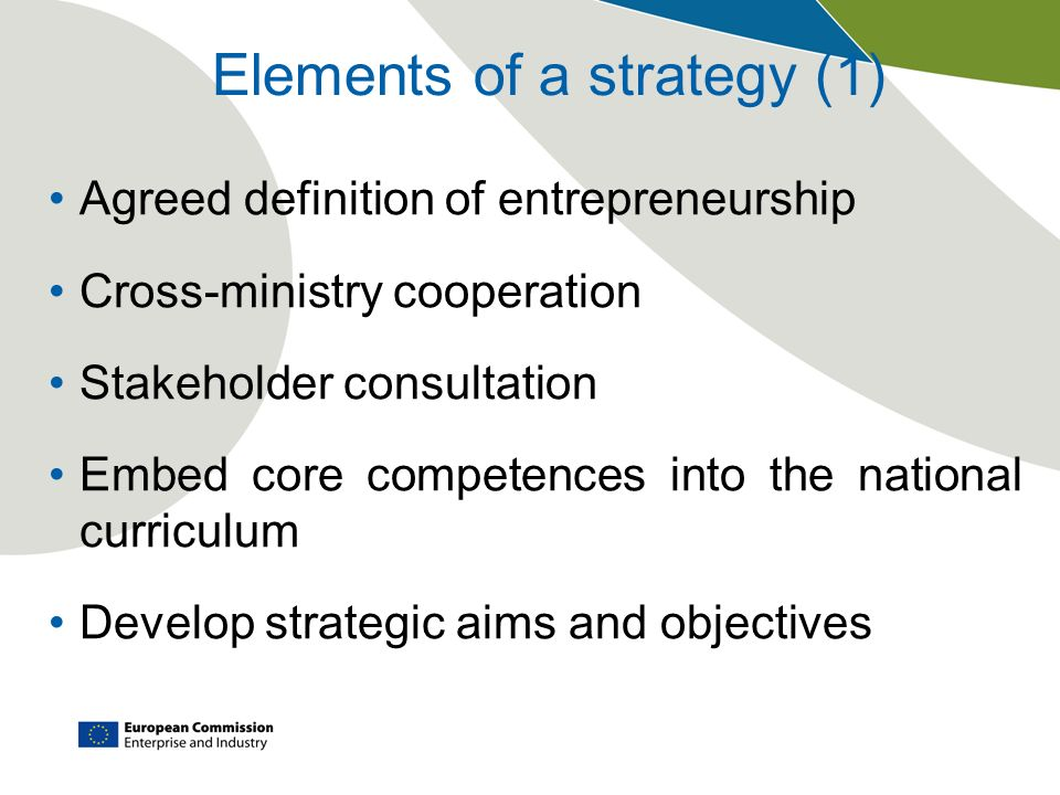 Elements of a strategy (1)