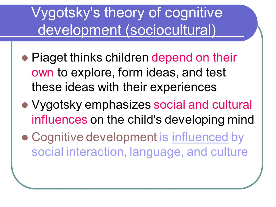vygotsky learning theory Vygotsky's social development theory summary: social development theory argues that social interaction precedes development consciousnessand cog.