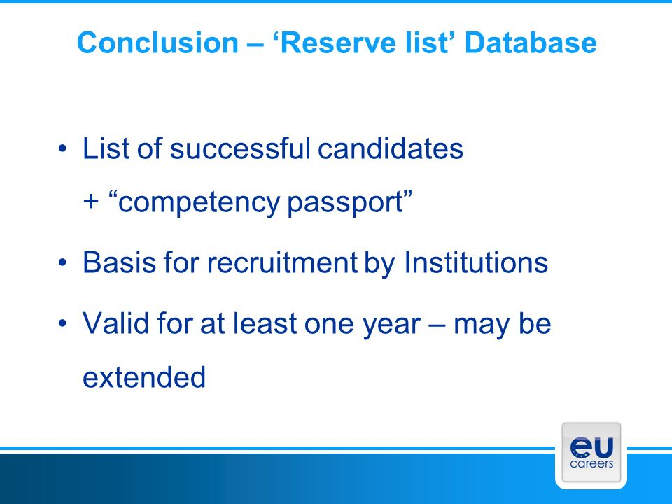 Conclusion – 'Reserve list' Database