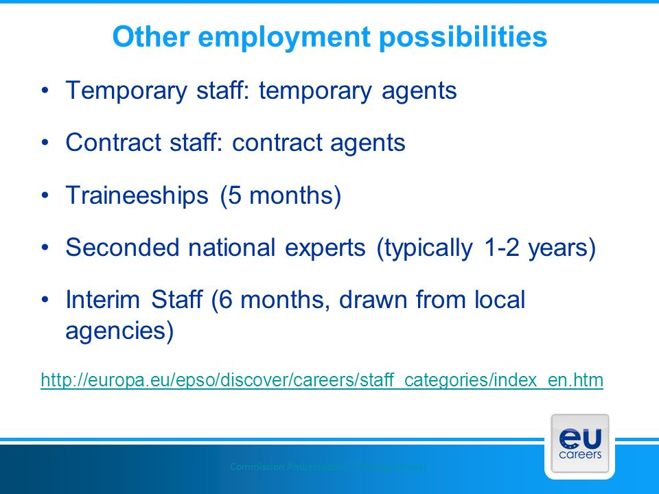 Other employment possibilities