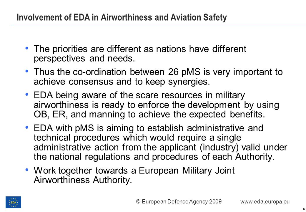 Involvement of EDA in Airworthiness and Aviation Safety