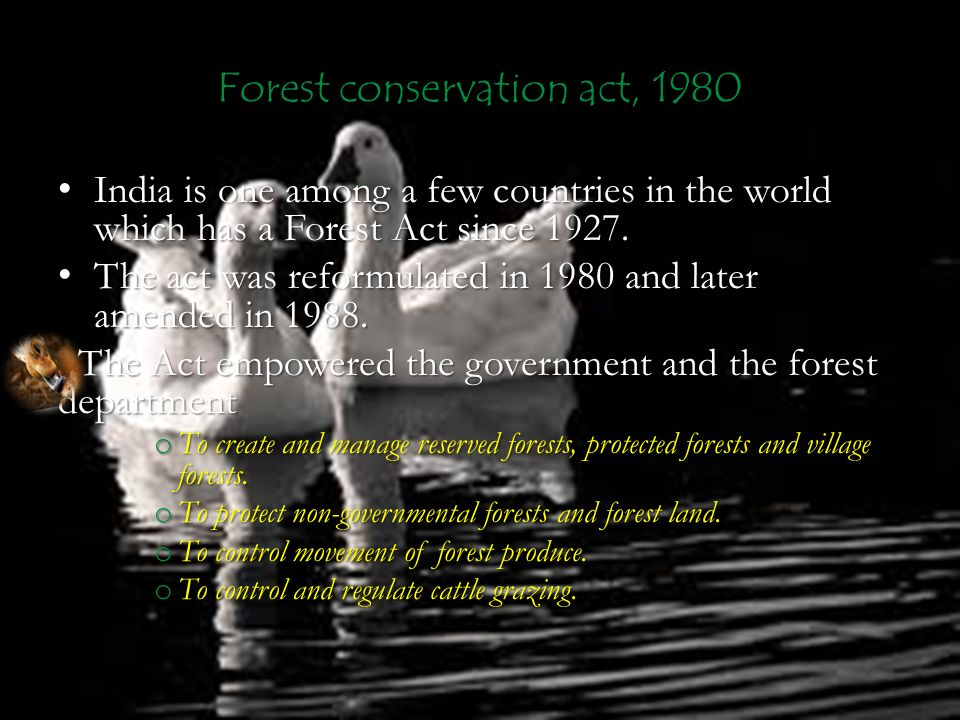 Forest conservation act, 1980