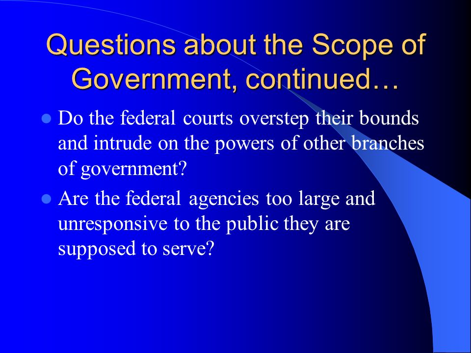 functions and scope of federal The federal communications commission regulates interstate and international communications by radio, television, wire, satellite and cable in all 50 states, the.