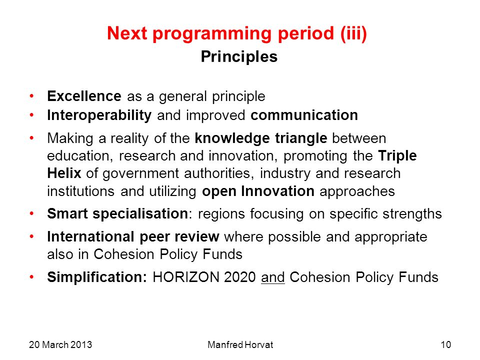 Next programming period (iii) Principles