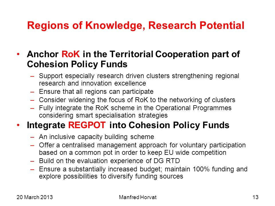 Regions of Knowledge, Research Potential