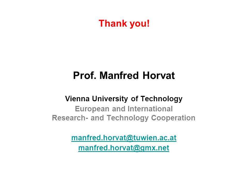 Prof. Manfred Horvat Thank you! Vienna University of Technology
