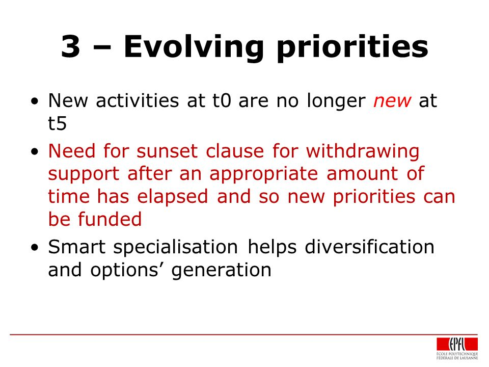 3 – Evolving priorities New activities at t0 are no longer new at t5