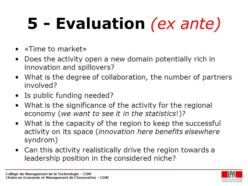 5 - Evaluation (ex ante) «Time to market»