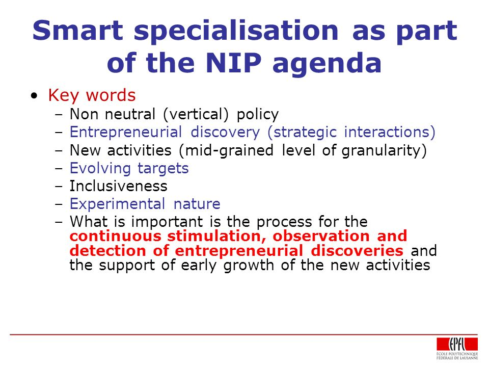 Smart specialisation as part of the NIP agenda