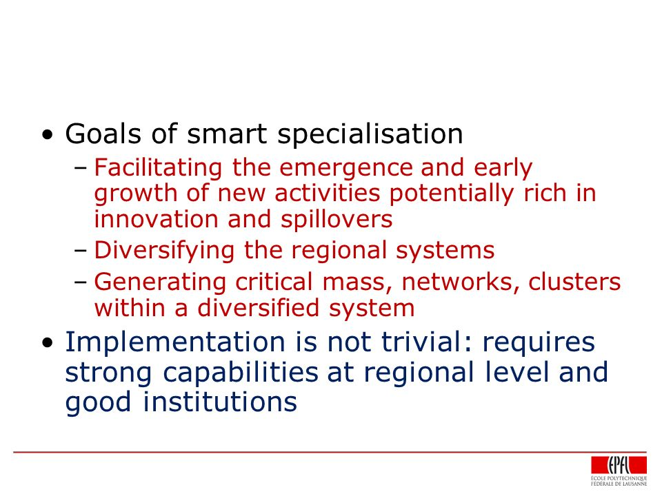 Goals of smart specialisation