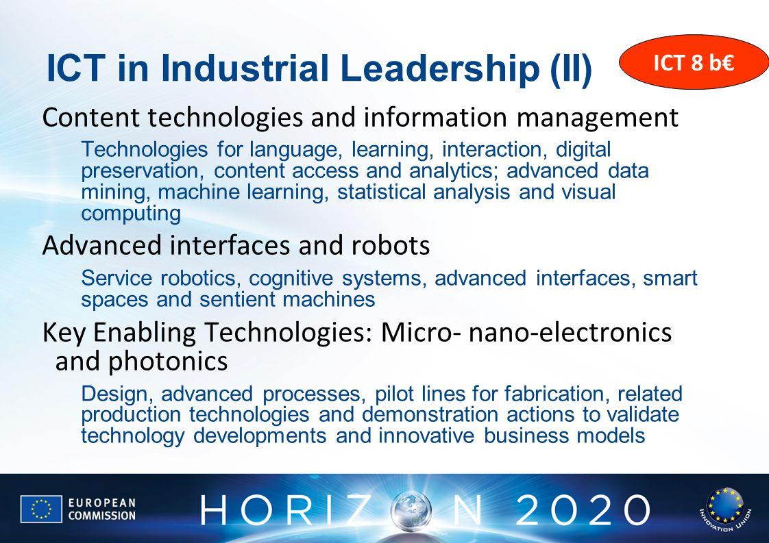 ICT in Industrial Leadership (II)