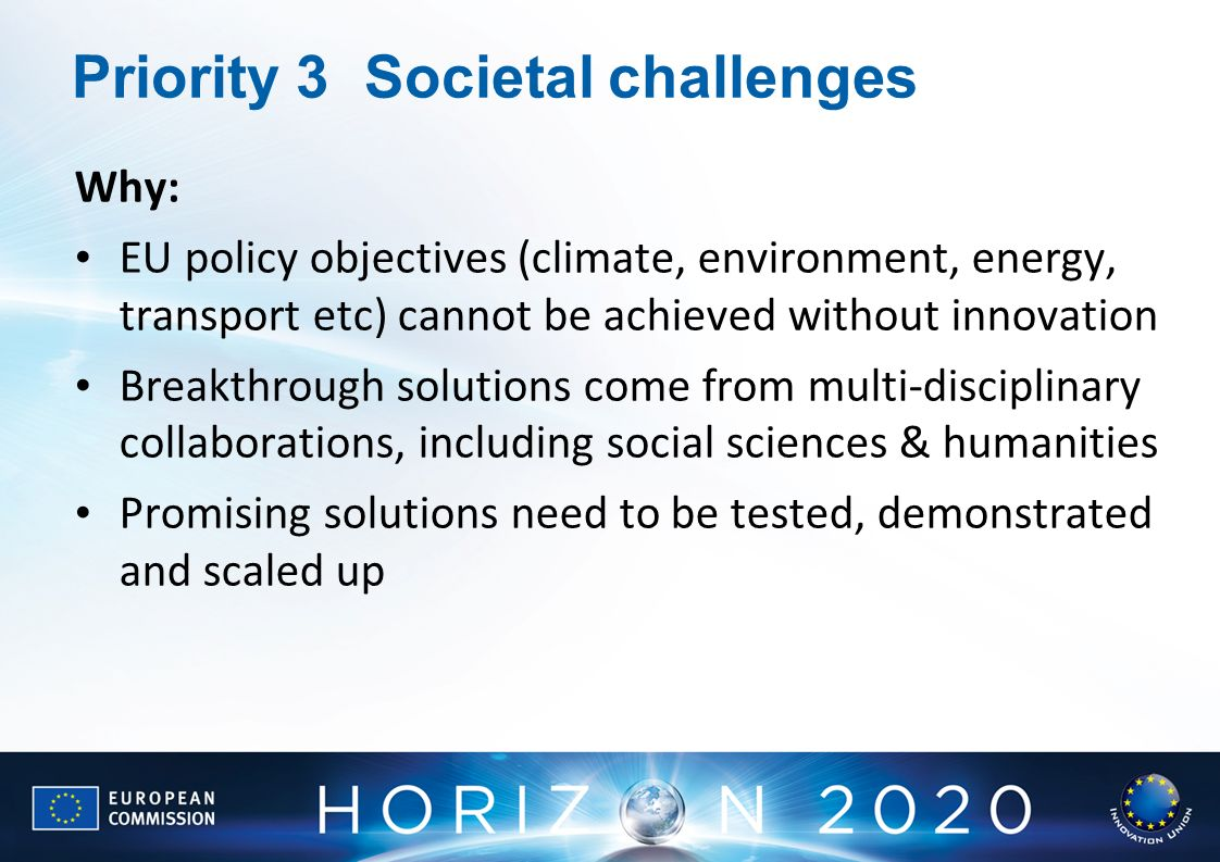 Priority 3 Societal challenges