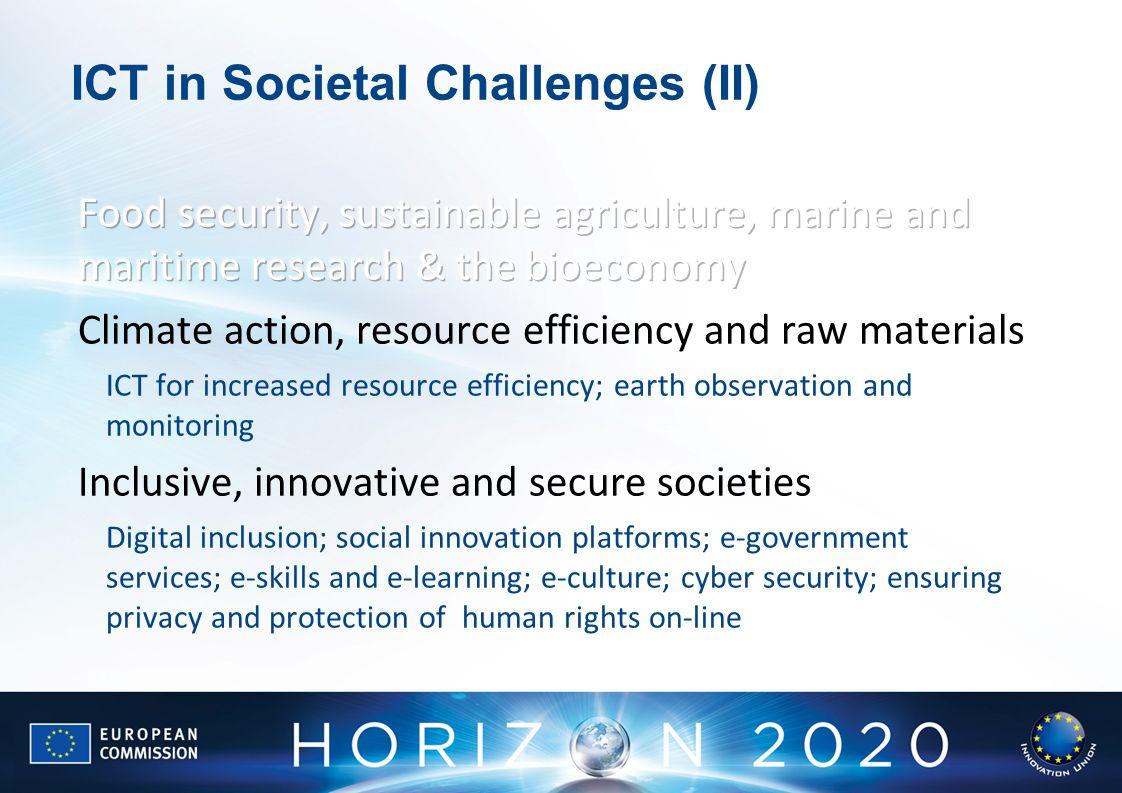 ICT in Societal Challenges (II)