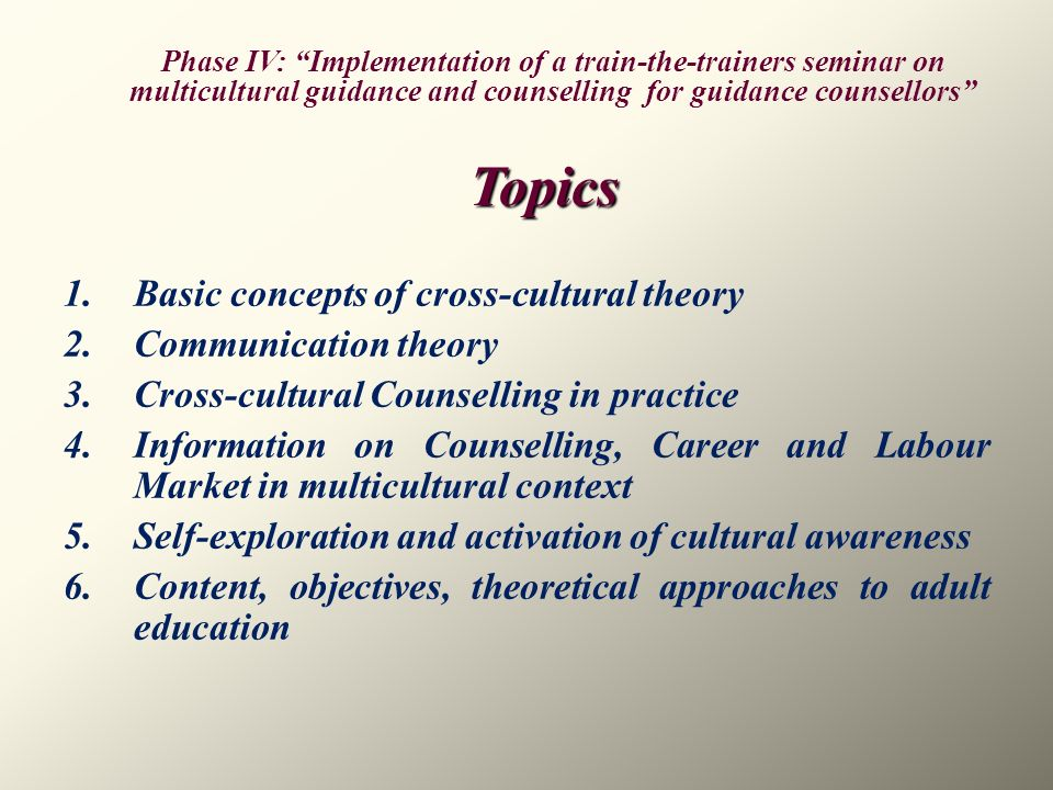 Topics Basic concepts of cross-cultural theory Communication theory