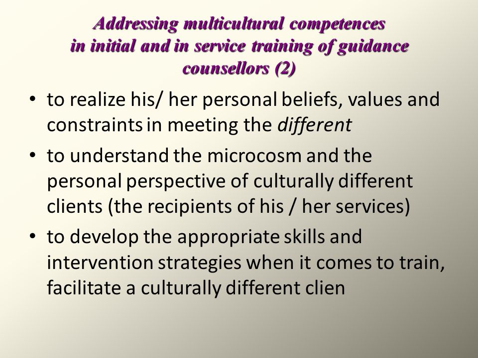 Addressing multicultural competences in initial and in service training of guidance counsellors (2)