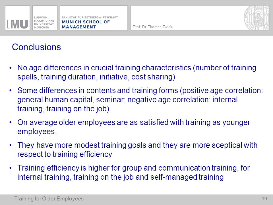 Conclusions No age differences in crucial training characteristics (number of training spells, training duration, initiative, cost sharing)