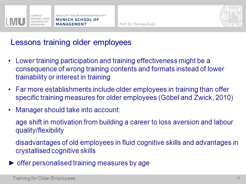 Lessons training older employees