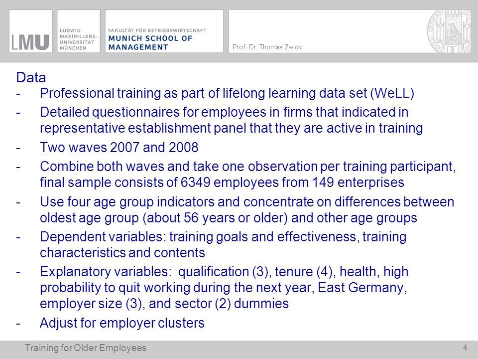 Data Professional training as part of lifelong learning data set (WeLL)