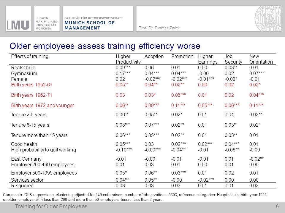 Older employees assess training efficiency worse